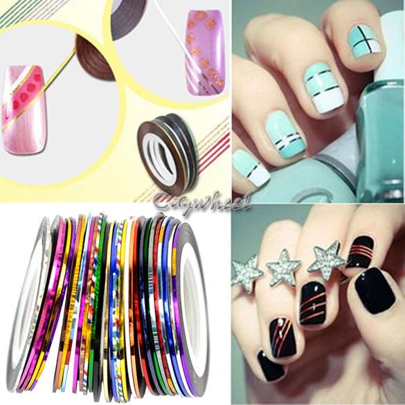 30 Mix Color Rolls Striping Tape Metallic Yarn Line Nail Art Decoration Sticker Free Shipping 4964 b001(China (Mainland))