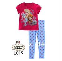 In Stock! New 2014 Girls The Sisters Pajama Sets Kids Summer Short sleeve Sleeping suit Children Casual Pyjama, 2 colors
