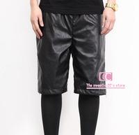 Snakeskin Fashion Faux PU Leather Black shorts for men / Gold zipper Breathable Men Casual Shorts M-3XL