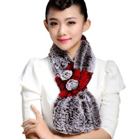Free ship fur scarf collar high quality rex rabbit fur scarf winter women's real fur rabbit scarf knitting neck warmer LQ11007