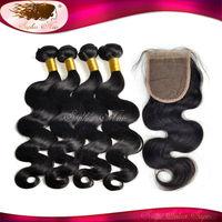 Human Hair Bundles Brazilian Body Wave With Closure 4 Bundles Brazilian Virgin Hair With Silk Lace Closure Free/Middle Part 1Pcs
