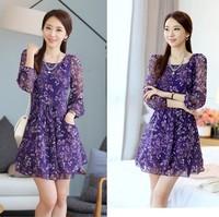 Girl casual Dress New 2014 summer women Dress Chiffon Dress render Floral printing Korea Fashion loose plus size vestidos