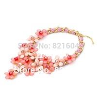 2014 Fashion Big Resin Crystal Clusters Flower Necklaces & Pendants Women Statement Bib Choker Free Shipping