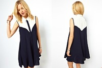 Fashion Dress 2014 Summer Shirt Dress Navy-blue White Decoration Button Design Sleeveless Dresses Supply
