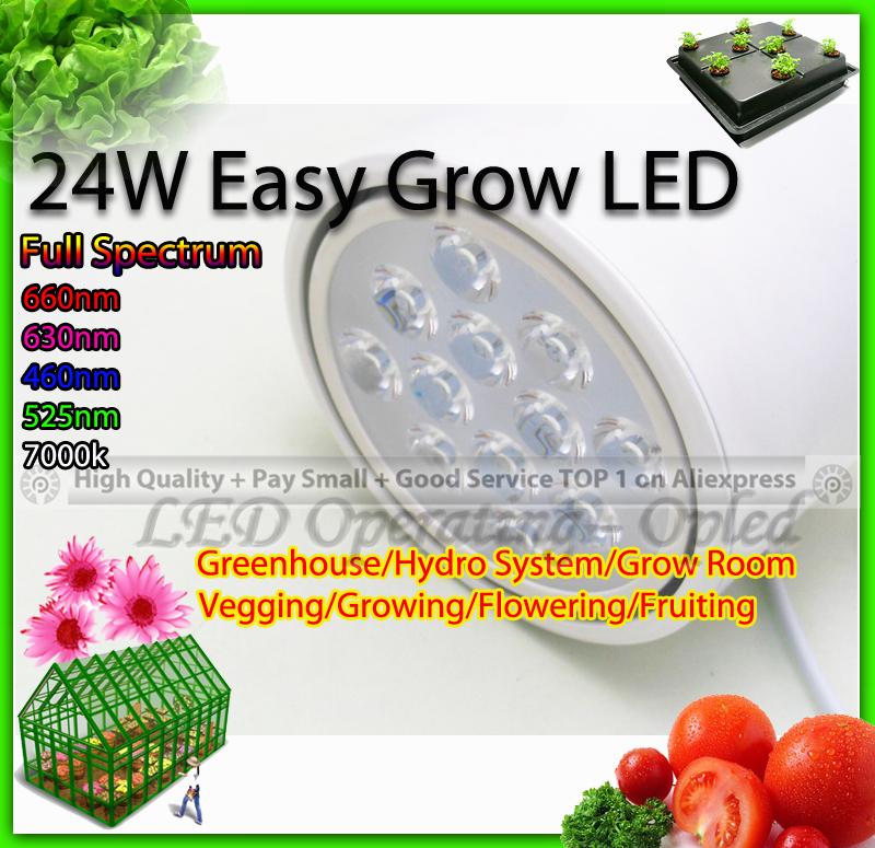 éclairage professionnel à spectre complet de la puissance élevée led élèvent la lumière- easy grow led 24w lampe pour la culture des plantes à fleurs croître, boîte