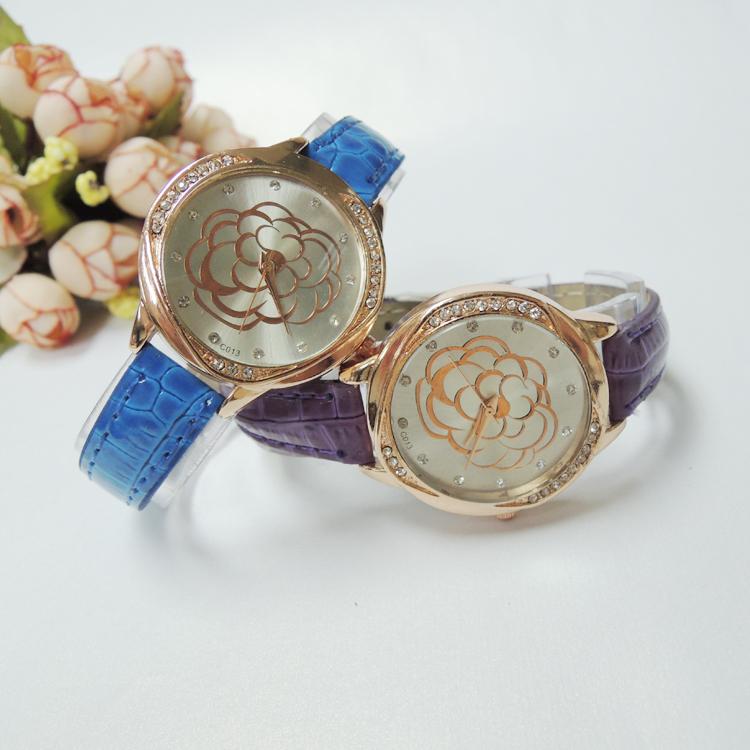 (Min order $10 mix)Fashion full of rhinestone flower dial women's quartz watches fresh jelly PU lady watch lovely student watch(China (Mainland))