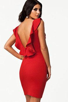 Благородный красный текстурированные Bodycon платье с раффлед спинки LC21078 сексуальные женщины лето свободного покроя платья Femininos свадебные платья бесплатная доставка