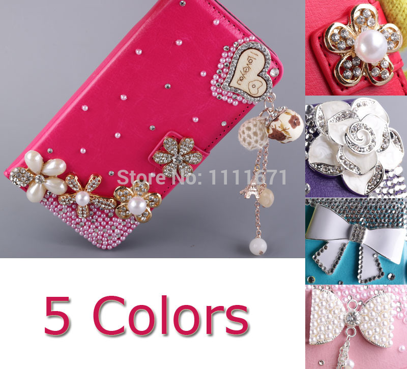 Bling Bling Pearl Studded Silver Rose Bowknot Golden Royal Crown Heart Purse Wallet Case Cover For HTC One M7 Free Shipping(China (Mainland))