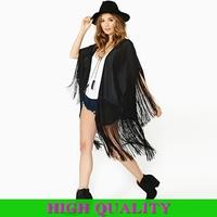 New 2015 Fashion Spring Summer Brand Jackets Women Clothing Tassel Punk Jacket Bat Sleeve Chiffon Wrap High Street Tippet Coat