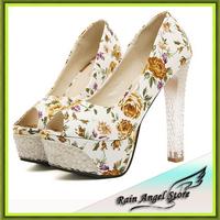 2014 New Floral Print Open Toe Sandals Women Crystal Thick Heels Platform Pumps Ladies Summer Shoes sapatos femininos
