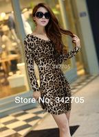 New dress 2014 Sheath Leopard Sexy Dress Women Trendy Clothes Women Leopard Dress Vestido Pra Noite Long Sleeve Autumn Dress