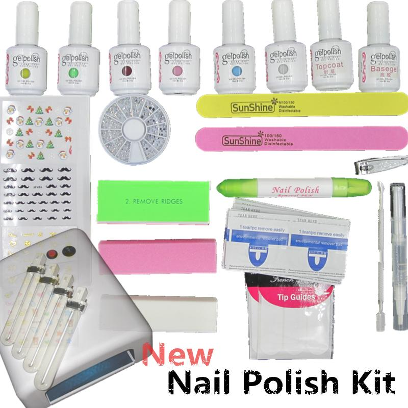 High quality Fashion Nail Polish Gel set UV 36W Curing Lamp Manicure File Nail art diy tools with Base Top coat Buffer Remover(China (Mainland))