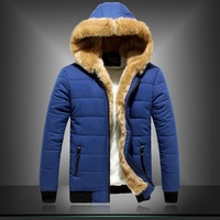 Winter down jackets 2014 Men Cotton inner wadded jacket fashion thick cotton padded mens Short winter parkas with Hooded collar