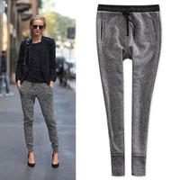 2015 spring autumn gray linen knit cotton drawstring sweatpants elastic waist carrot pants women casual pants pencil pants  feet