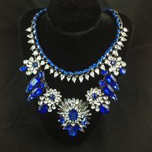 2014 Fashion Necklace Shourouk Chain Chunky Statement Necklace Pendant Wholesale Jewelry Blue Crystal Choker Necklace Women
