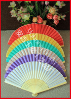 Free shipping 30pcs/lot colorful silk(cloth)  folded hand fan for wedding favor