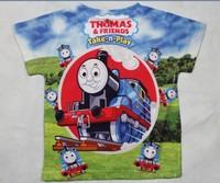 2014 New Summer Thomas short sleeve 3D t shirts clothes Children clothing Boys Girls cartoon the train t-Shirt for Kids