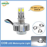 100% Brand New 6-36V 18W Hi/Lo Motorcycle Headlamp 3LED 2000LM Brightness headlight High Quality