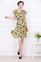 Plus Size Sexy Women Floral Dot Print Slim Dress Casual Flower Office Dress One Piece Dress Big Large XXXL XXXXL 2014 New Summer