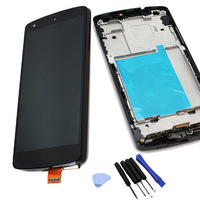 Black LCD touch screen  digitizer assembly with frame + Free Tools for LG Google Nexus 5 D820 D821