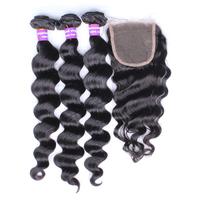 5A Eurasian Virgin hair closure with bundles loose wave 3 part lace closure with 3pcs hair bundles 100% human hair can be dyed