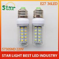 Hot selling 220V 36leds SMD 5730 E27 LED 220V 12W LED bulb lamp ,Warm white/white LED Corn Bulb Light,waterproof,free shipping