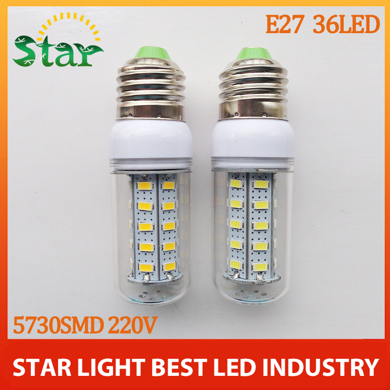 2014 new High Power Mini E27 5730 SMD LED Corn Bulbs 36leds 12W 220V White/Warm White crystal chandelier lighting free shipping(China (Mainland))