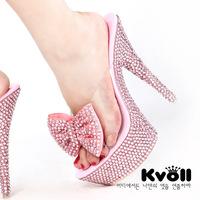 Kvoll transparent resin Pink fashion bow rhinestone ultra high heels platform sandals silver glitter platform pumps sexy shoes