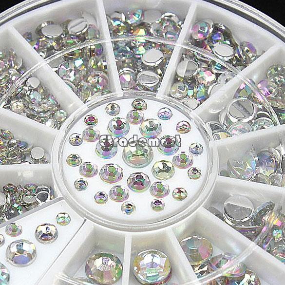 2014 New Style 3D Design Nail Art Tips Rhinestone Decoration Wheel Tools For Beauty & Health 4 Sizes 300PCS 19818#006(China (Mainland))