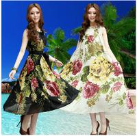 Extra Plus Size Women's Dresses chiffon sleeveless dress Big flower printing white and black color with long belt XXXXXL 5xl 6xl
