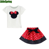 2014 Summer New Children Girl's 2PC Sets Skirt Suit Minnie Mouse Clothing sets dots skirt dots pants cartoon clothes  LZ-T0224
