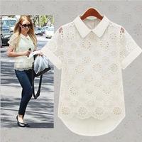 Cheap Crochet Blouses New 2014 Summer Fashion Women's Plus Size Shirts Hollow Out Lace Shirt Double Layer Chiffon Shirt