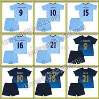 Free shipping 2014-15 Manchester Children's Home Away Soccer Jersey Embroidered childrens jerseys child NEGREDO,AGUERO,NAVAS