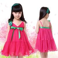Retail !2014 new girl dress Girls Toddler 3D Flower Tutu Layered Princess dress sleeveless Waist girl party dress in stock
