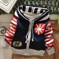 New 2014 Spring/Autumn good Fashion flat knitted woolen yard with zipper hooded children sweater children outerwear 3pcs/lot