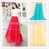 Hot sale New Women Sexy Chiffon Long Skirt High Quality 16 colours Nice Design Long Skirts Free Shipping  Length 100cm