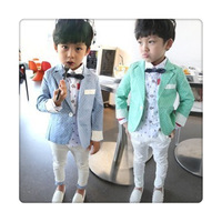 Free Shipping 2014 New Spring childrens clothing boys suits 2 piece Blazer shirt boys formal dress child sets boys suits  Retail