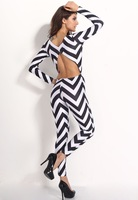 Free shipping 2014  New Fashion Sexy  Long Sleeve Striped Jumpsuits KM011 LC6419  S M L  Plus Size