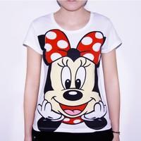 2014 New O Neck Women Fashion T Shirts 100% Cotton Short Sleeve Lady Mickey T-Shirts Minnie Tops Tee