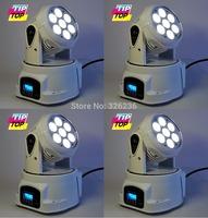 4pcs/lot 7pcs*15W 5IN1 RGBAW Led Moving Head Light Hi-Quality Plastic White Case DMX512 Led Stage Effect Light