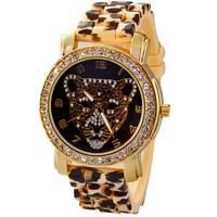 Fashion Popular Leopard Women Rhinestone Watches Camouflage Silicone Strap Ladies Dress Quartz Watch High Quality