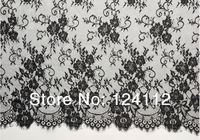 3 yards (DT6518) High Quality 2014 New French Chantilly Style Floral Bilateral Black Lace Fabric