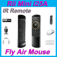 New Arrival i25 upgraded Rii i25A K25A 2.4G fly air mouse wireless keyboard with audio Jack for Windows IOS Android PC Smart TV