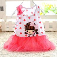 Baby girl dresses 2014 summer dress dot dress flower princess 0-1 years baby clothing roupas infantil meninas vestidos de menina