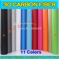 3D Carbon Fiber 3D Car Wrapping Film Carbon Fiber Foil with many color Air Drain 1.52x30m 0.16-0.18mm