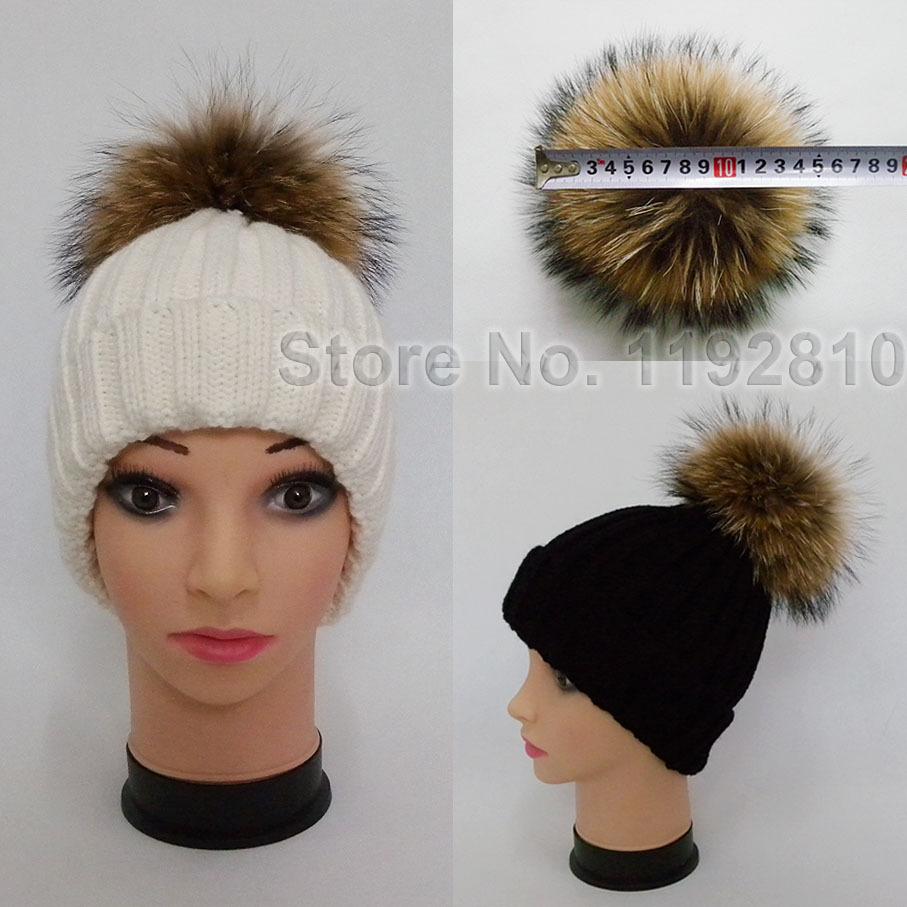 Unisex Soft Knitted Hat Raccoon Fur Ball Lady Skullies & Beanies Pom Pom Women Headgear Men Casual Cap Girl Bonnet Good Gift1426(China (Mainland))