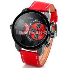 oulm homens relógio movt com duplo números e marcas tiras horas quartzo banda couro homens esportes relógio relógios militares freeship(China (Mainland))