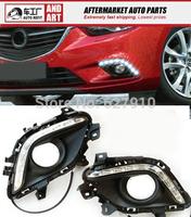 Free shipping daytime running lights 9 LED Car DRL case for 2013 2014 Mazda 6 Atenza front fog light,car light source