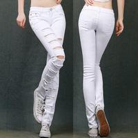Manual Frazzle Hole Europe America Retro Catch must Pencil Feet White Black Trousers Pants Women's clothing Pants&Capris Jeans