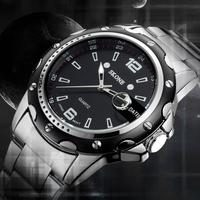 Hot SKONE watches men luxury brand 7147 water resist relogio masculino military quartz watch full stainless steel men wristwatch